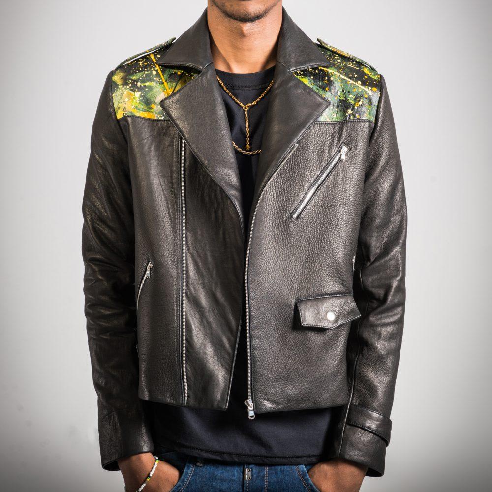 Sugar Cane - Hand Painted Lambskin Biker Jacket (Medium)