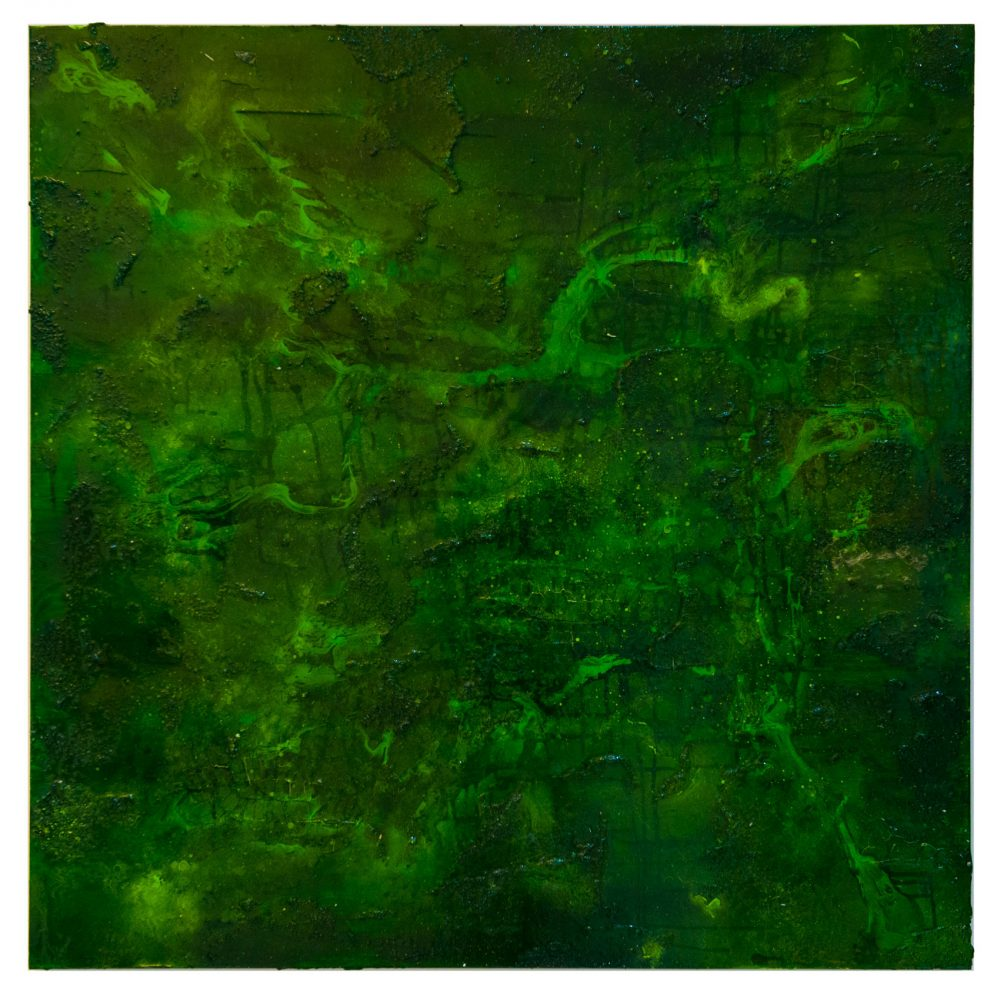 Emerald Mixed media and resin on canvas